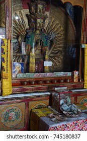 LADAKH, INDIA - SEP 12, 2017 - Avalokisheshshvara, God of Compassion,Liker Gompa Monastery, Ladakh, India