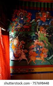 LADAKH, INDIA - SEP 12, 2017 - Tantric Buddhist frescoes of Buddha & Deities in Liker gompa MonasteryLadakh, India