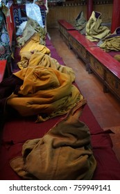 LADAKH, INDIA - SEP 12, 2017 - Buddhist robes in temple of Liker Gompa Monastery, Ladakh, India