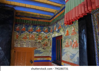 LADAKH, INDIA - SEP 12, 2017 - Thanka Buddhist painting in Liker Gompa Monastery, Ladakh, India