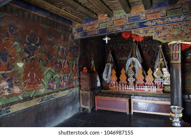 LADAKH, INDIA - SEP 13, 2017 - Buddhist frescoes at Lamayuru gompa monastery, Ladakh, India