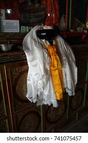 LADAKH, INDIA - SEP 13, 2017 - Kata silk scarves and other donations, Lamayuru gompa monastery, Ladakh, India