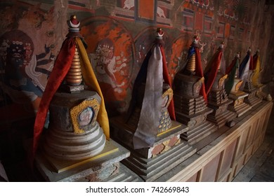 LADAKH, INDIA - SEP 13, 2017 - Small memorial stupas on altar of  Lamayuru gompa monastery, Ladakh, India