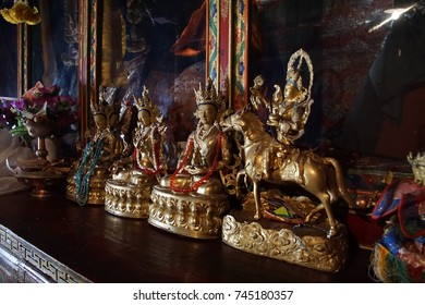 LADAKH, INDIA - SEP 13, 2017 - Small statues and offerings in temple of Lamayuru gompa monastery, Ladakh, India