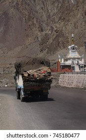 LADAKH, INDIA - SEP 13, 2017 - Lorry on narrow road above the Indus River, Ladakh, India