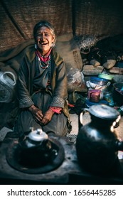 LADAKH, KASHMIR, INDIA – JUNE 22, 2019: Nomadic people. They live for several months a year in tents, looking for fresh pastures for their goats, from which comes cashmere wool. In Ladakh, India
