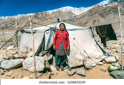 LADAKH, KASHMIR, INDIA – JUNE 22, 2019: Nomadic people. They live for several months a year in tents, looking for fresh pastures for their goats, from which comes cashmere wool. In Ladakh, India.