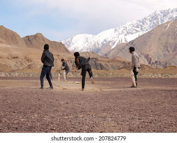 Ladakh,Jammu and Kashmir, India - April 8, 2012: Group of people are playing cricket in Ladakh, India.