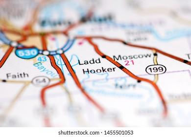 Ladd. Arkansas. USA on a geography map