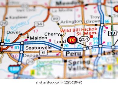 Ladd. Illinois. USA on a map