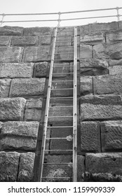 A ladder descending from a harbour down to the sea