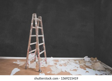 ladder in empty room , flat renovation concept