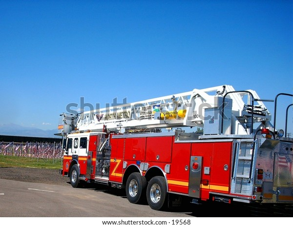 Ladder Fire truck view from rear and three quarter side