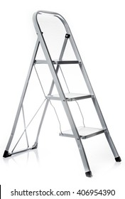 Ladder isolated .  metal ladder over white background