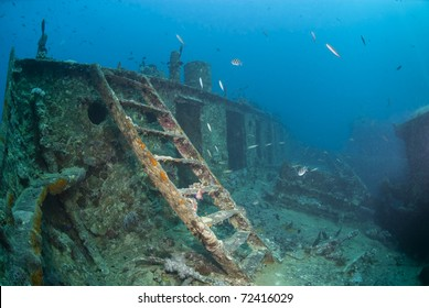 Ladder leading to the bow deck of the shipwreck SS Thistlegorm, underneath is the rope room. SS Thistlegorm, Straights of Gubal, Red Sea, Egypt.