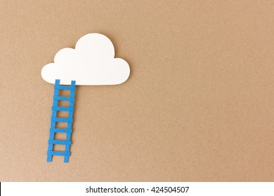 Ladder leading up to cloud - reach your goals & dreams- inspirational image with space to add your motivational quote