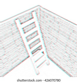 Ladder leans on brick wall on a white background. Pencil drawing. 3D illustration. Anaglyph. View with red/cyan glasses to see in 3D.