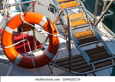 ladder and life buoy of a small sailboat