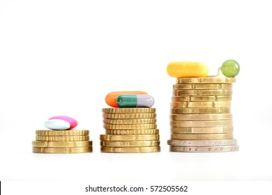 Ladder made of coins with colorful pills on top suggesting the growing prices of medicine or drugs