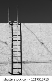 A ladder provides access to a building's roof with sky in the background (monochrome image).