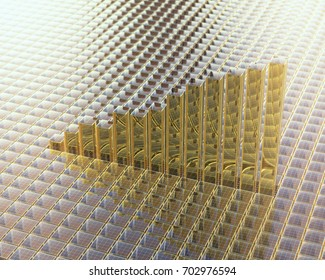 ladder shape,glass cubes 3d rendering background.