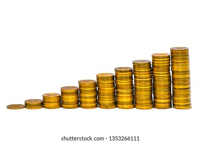 ladder from stacks of coins on a white background
