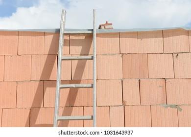 Ladder standing on brickwork