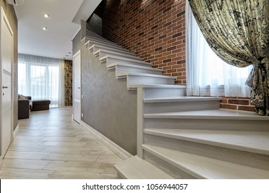 ladder with wooden handrails