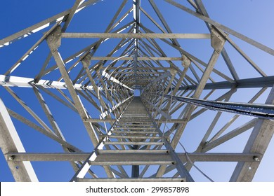 Ladders of a communication tower in the mountain designed to monitor with cameras and notify for fires.