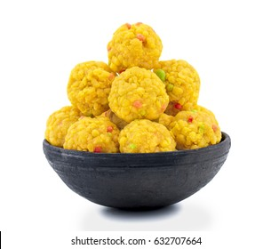 Laddu also know as laddoo, ladoo, laddo are ball-shaped sweets popular in the Indian festivals. Laddu are made of flour, minced dough and sugar with other ingredients. laddu on white background