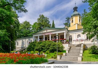 LADEK ZDROJ, LOWER SILESIA / POLAND - JULY 17, 2016: Cafeteria pavilion in Central Park.