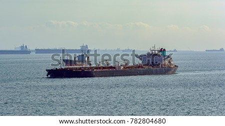 Laden Crude Oil Tanker Underway Along Stock Photo (Edit Now