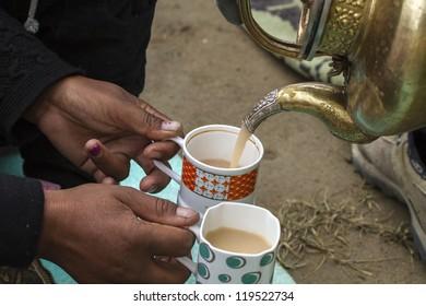 Ladhaki woman serving tea with milk, Ladakh, India