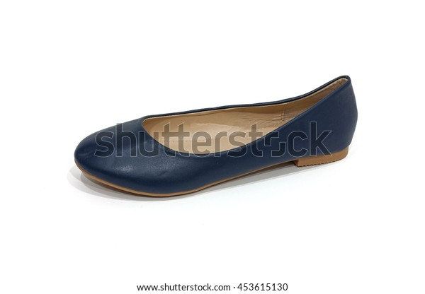 Ladies' blue colored flat shoes on white background