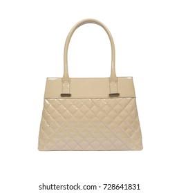 cd580e654d3 Ladies cream shiny textured designer handbag isolated on white background