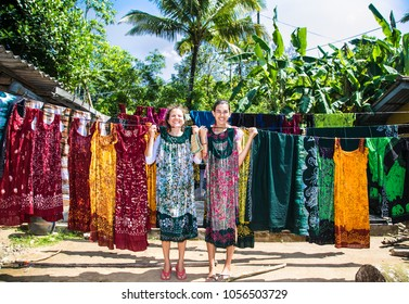 ladies during the manufacture of batik at Weligama .  Sri Lanka.