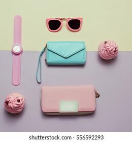 Ladies Fashion Accessories. Wallet, watch, necklace, glasses. Pastel colors Trend Minimal