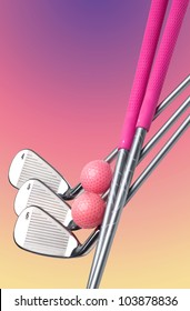 Ladies golf clubs (irons #4, 5, 6) with magenta grips and pink golf balls