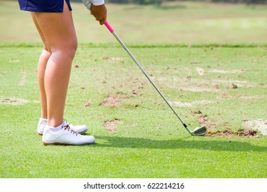 Ladies Golfer Finished Golf Swing Stock Photo (Edit Now