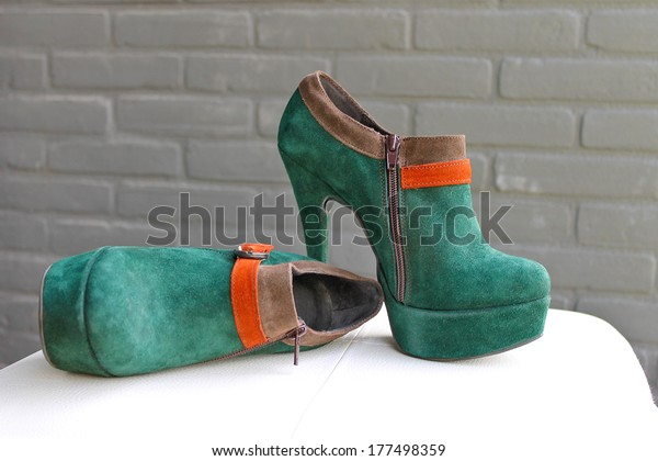 Ladies Green Suede Shoes On Heel Stock