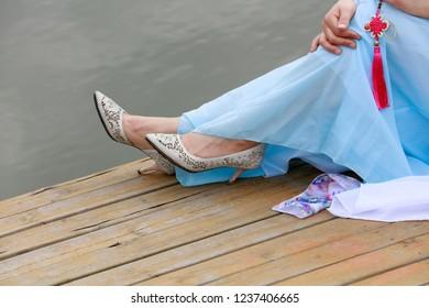 Ladies high heeled shoes