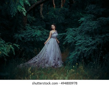 Ladies luxury lush long dress with unusual patterns.Fairy Princess walking in the miraculous, the fantastic forest.Outfit - exclusive handmade.Photo Fairy.Fashionable toning. Creative computer colors.