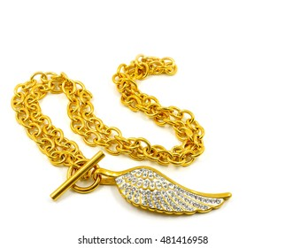 Ladies Necklace - Angel wings - Stainless steel and crystal - White background