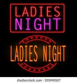 Ladies night glowing neon signs on black background
