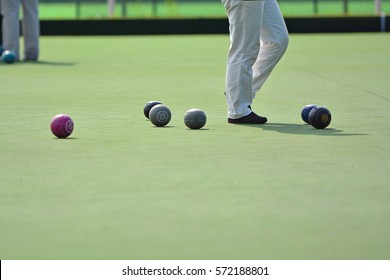 Ladies playing lawn bowls. Soft focus on the blurred background.