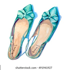 Ladies shoes with a bow. Watercolor fashion illustration. Hand drawn.