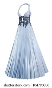 a ladies silver satin evening dress with a pleated skirt