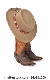 Ladies Two Tone Cowboy Boots and Felt Hat with Beaded Hatband.
