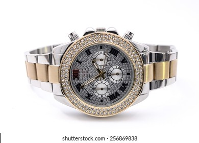 ladies wristwatch on white background