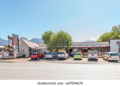 LADISMITH, SOUTH AFRICA - MARCH 25, 2017: A small shopping centre with restaurant and winery in Ladismith, a small town in the Western Cape Province